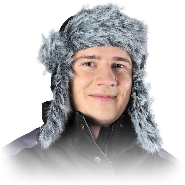 Wintermütze - CZOPAPA-PUCH - Fell - Ohrenschutz - Schwarz und Grau