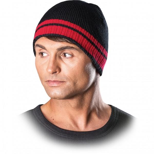 Wintermütze - CZPAS - Beanie Mütze - Schwarz und Rot
