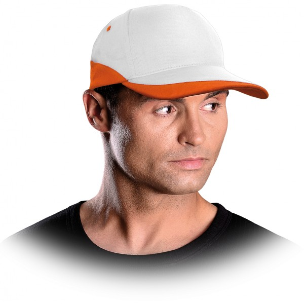 Cappy - Kappe - CZC - Modernes Design Weiß und Orange