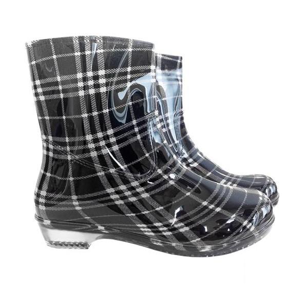 Gummistiefel - Wellingtons - Stiefeletten - CHECK - schwarz / weiß