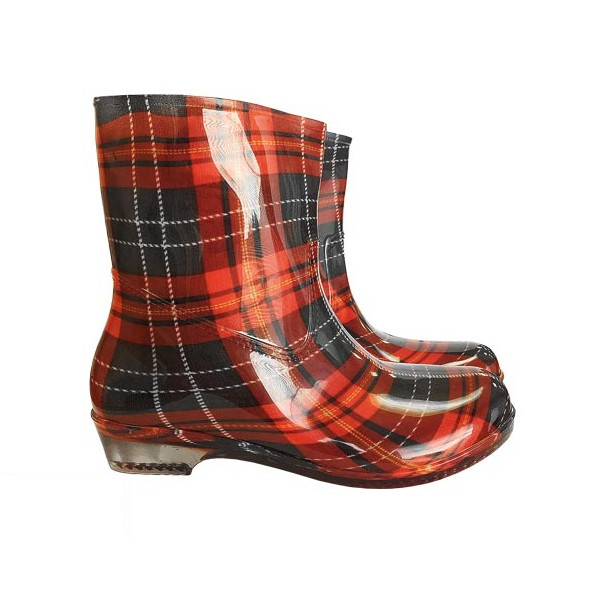 Gummistiefel - Wellingtons - Stiefeletten - CHECK - rot / schwarz