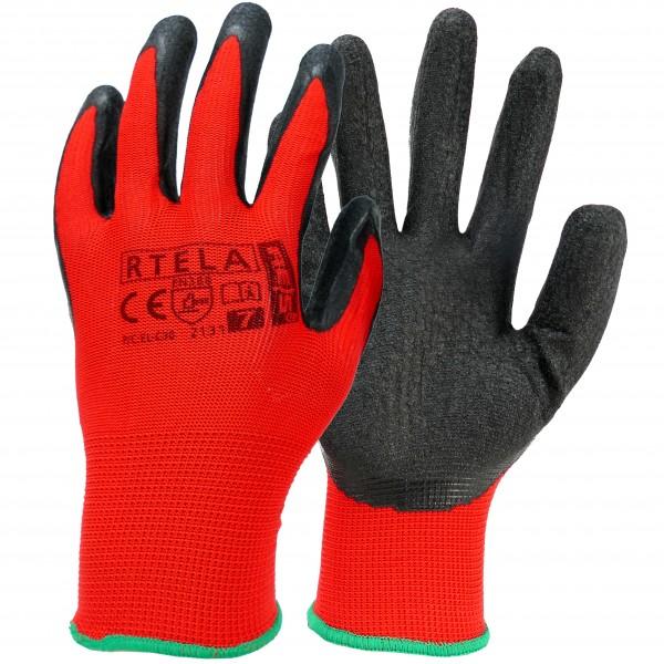Neueste Mode große Auswahl Preis bleibt stabil 12 Paar Arbeitshandschuhe - RTELA - Rot und Schwarz