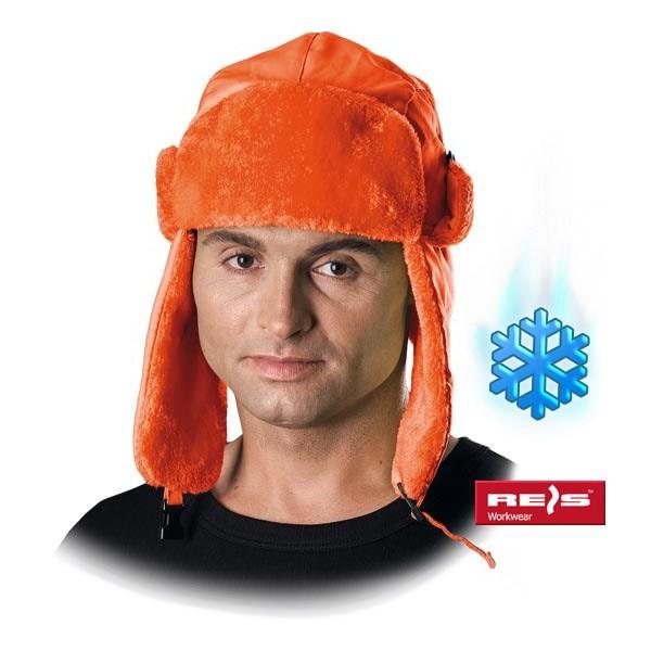Wintermütze - CZOEXTREME - Lammfell - Ohrenschutz - Orange