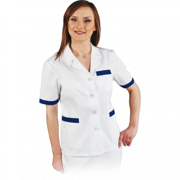 Bluse - Kittel - LHHCLS - Kasack - Hygienebluse - Weiß / Blau