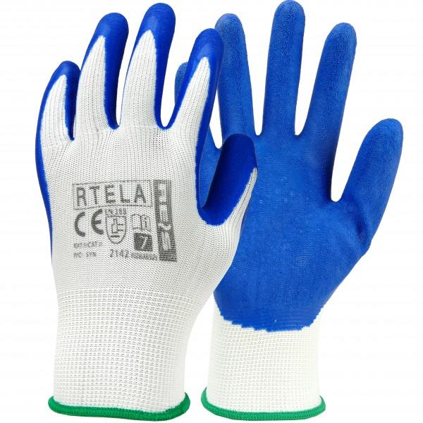 12 Paar Arbeitshandschuhe - RTELA - Blau und Weiß