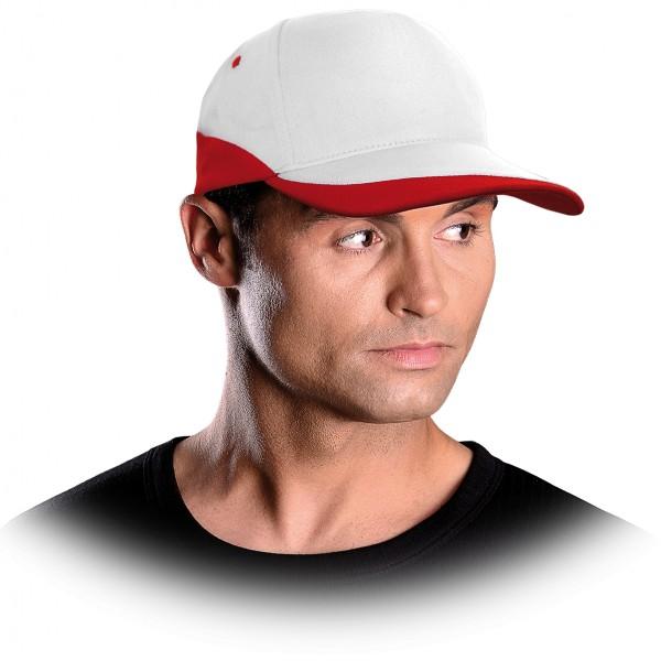 Cappy - Kappe - CZC - Modernes Design Weiß und Rot