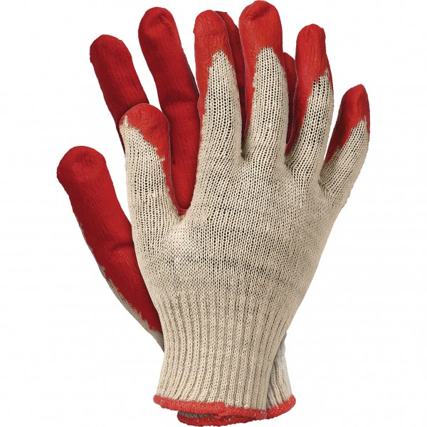 10 Paar Arbeitshandschuhe - RUC - 100% Baumwolle - Rot - Gr. 9