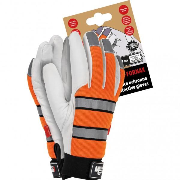 Montagehandschuhe - RMCFORNAX - Ziegenleder - Orange / Schwarz / Silber / Weiß - Gr. L